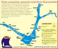 Porty, przystanie, schronienia Jeziora Zegrzyńskiego - mapka schematyczna